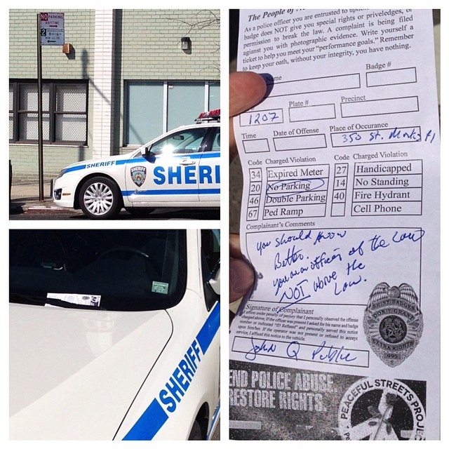 New York City Resident gives NYPD officer a parking ticket